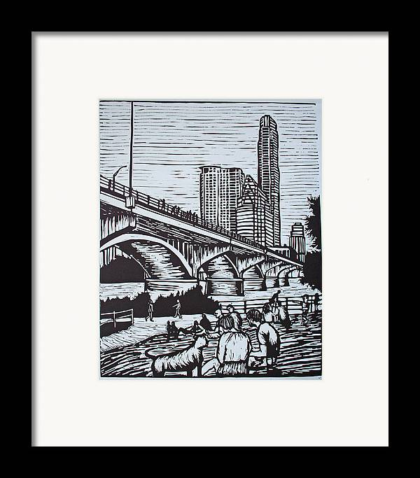 Austin. Bats Framed Print featuring the drawing Waiting For The Bats by William Cauthern