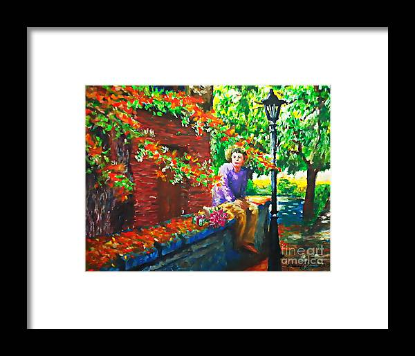 Oil Pastel Framed Print featuring the pastel Waiting by Joemarie Chua