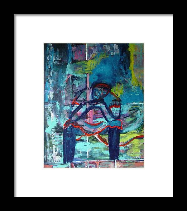 Woman On Bench Framed Print featuring the painting Waiting by Peggy Blood