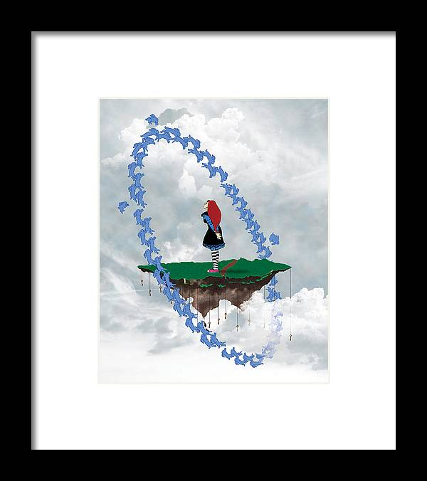 Girl Framed Print featuring the digital art Waiting by Penny Collins