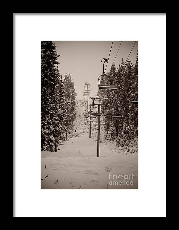 Oregon Framed Print featuring the photograph Waiting Ski Lifts by Cari Gesch