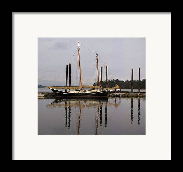 Boat; Boating; Water; Bay; Reflections; Reflection; Sailboats; Sailing; Boat Reflection; Bay; Washington; Seattle Framed Print featuring the photograph Waiting To Sail by Feva Fotos