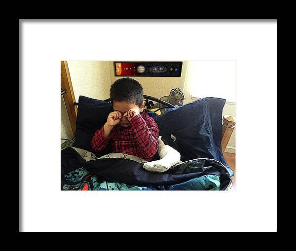 Beau's Dragon Framed Print featuring the digital art Waking Up by Julie Rodriguez Jones