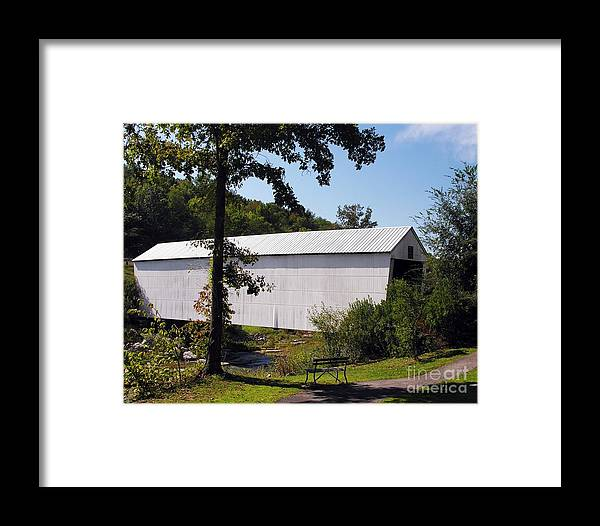 Nostalgia Framed Print featuring the photograph Walcott Covered Bridge 2 by Mel Steinhauer