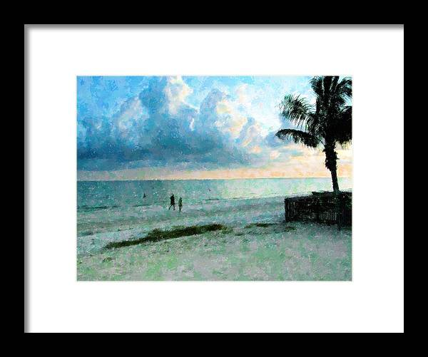 Sunset Framed Print featuring the mixed media Walk Under Blue by Florene Welebny