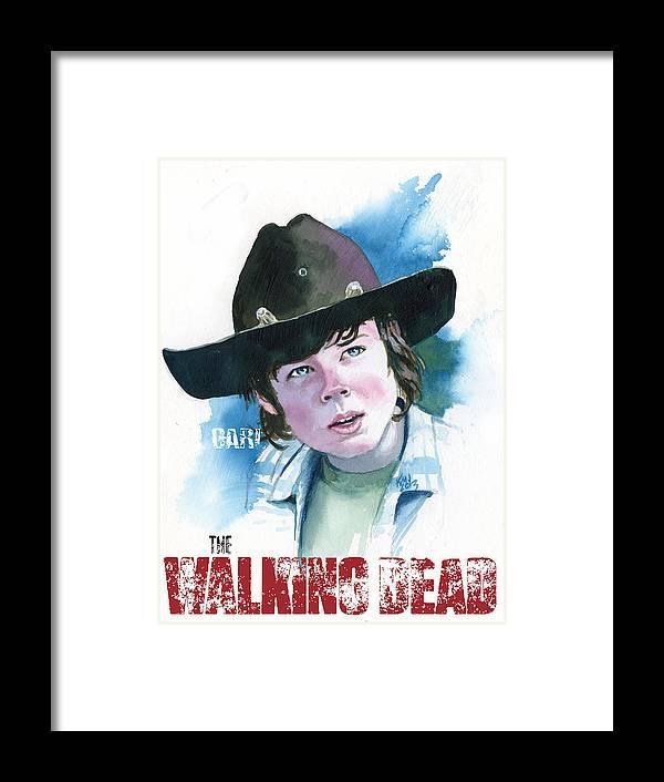 Walking Dead Framed Print featuring the painting Walking Dead Carl by Ken Meyer jr