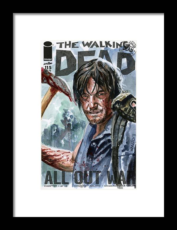 Walking Dead Framed Print featuring the painting Walking Dead Sketch Cover Daryl by Ken Meyer