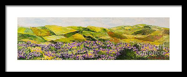 Landscape Framed Print featuring the painting Walking Hills by Allan P Friedlander