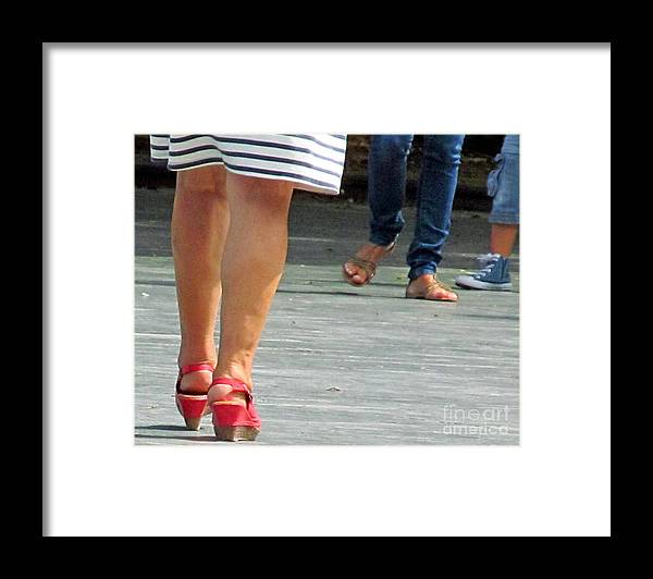 Feet Framed Print featuring the photograph Walking In Red Sandals by Tina M Wenger