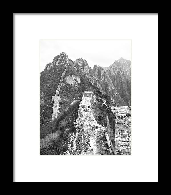 Great Wall Framed Print featuring the photograph Walking On Great Wall by Nian Chen