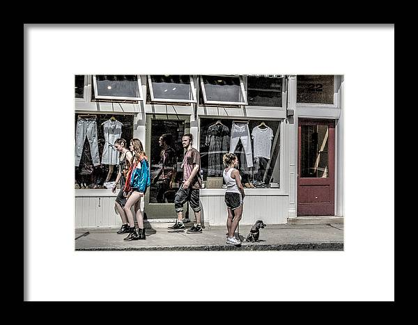 People Framed Print featuring the photograph Walking On Railroad Street - Great Barrington by Geoffrey Coelho