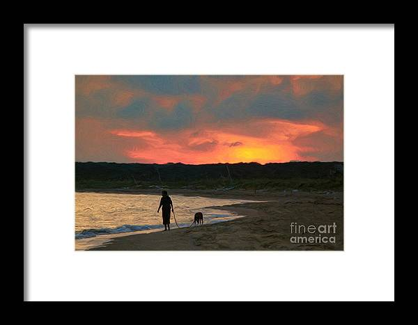 Walking The Dog Framed Print featuring the photograph Walking The Dog by Jeff Breiman