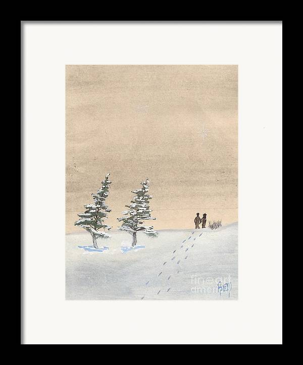 Watercolor Framed Print featuring the painting Walking Together by Robert Meszaros