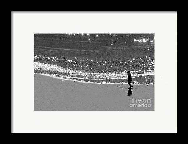 Man Walking On Beach Framed Print featuring the photograph Walking With God by Artist and Photographer Laura Wrede