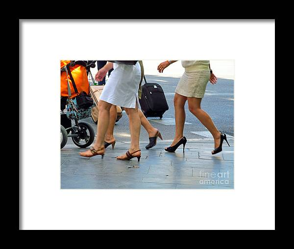 Feet Framed Print featuring the photograph Walking With High Heels by Tina M Wenger