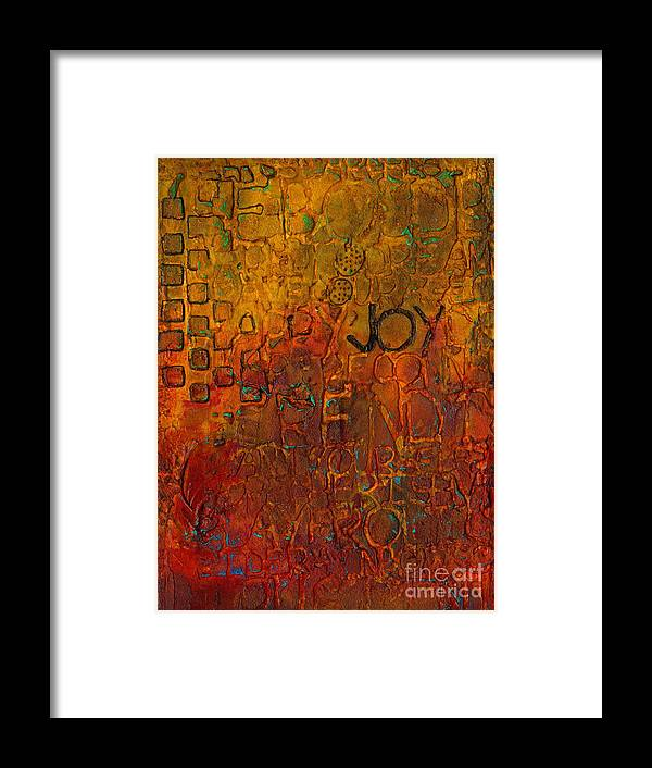 Abstract Mixed Media Framed Print featuring the mixed media Wall Carvings by Angela L Walker