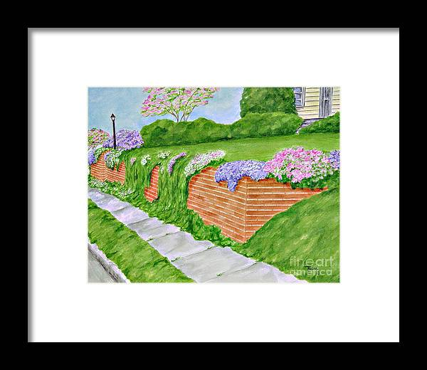 Landscape Framed Print featuring the painting Wall Of Flowers by Regan J Smith
