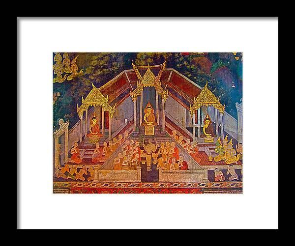 Wall Painting 2 In Wat Suthat In Bangkok Framed Print featuring the photograph Wall Painting 2 At Wat Suthat In Bangkok-thailand by Ruth Hager