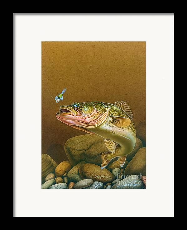 Jon Q Wright Framed Print featuring the painting Walleye And Spinner Jig by Jon Q Wright