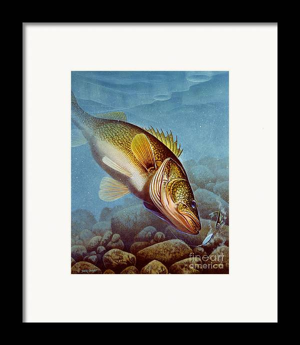 Jon Q Wright Framed Print featuring the painting Walleye Ice Fishing by Jon Q Wright