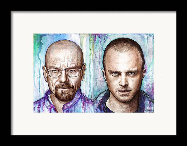 Breaking Bad Framed Print featuring the painting Walter And Jesse - Breaking Bad by Olga Shvartsur
