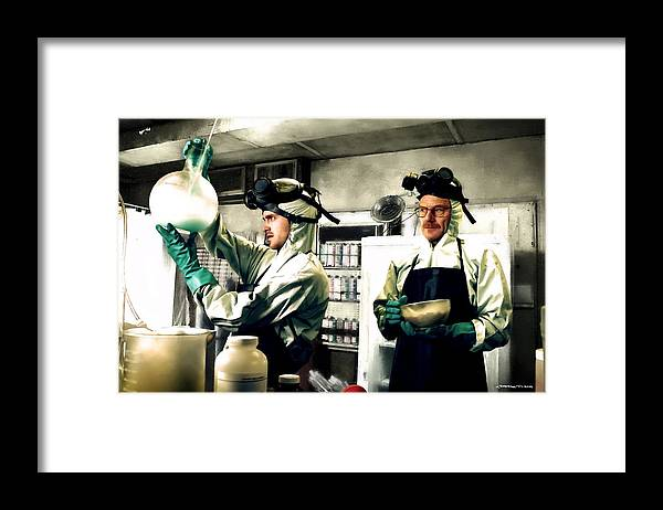Bryan Cranston Framed Print featuring the digital art Walter White and Jesse Pinkman by Gabriel T Toro