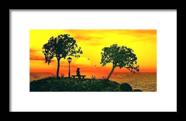 Nature Photographs Framed Print featuring the digital art Warm Sunset by John Junek