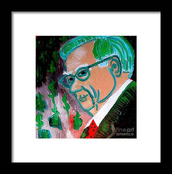 Warren Buffett Framed Print featuring the painting Warren Buffett Sage Of Omaha 2 by Richard W Linford