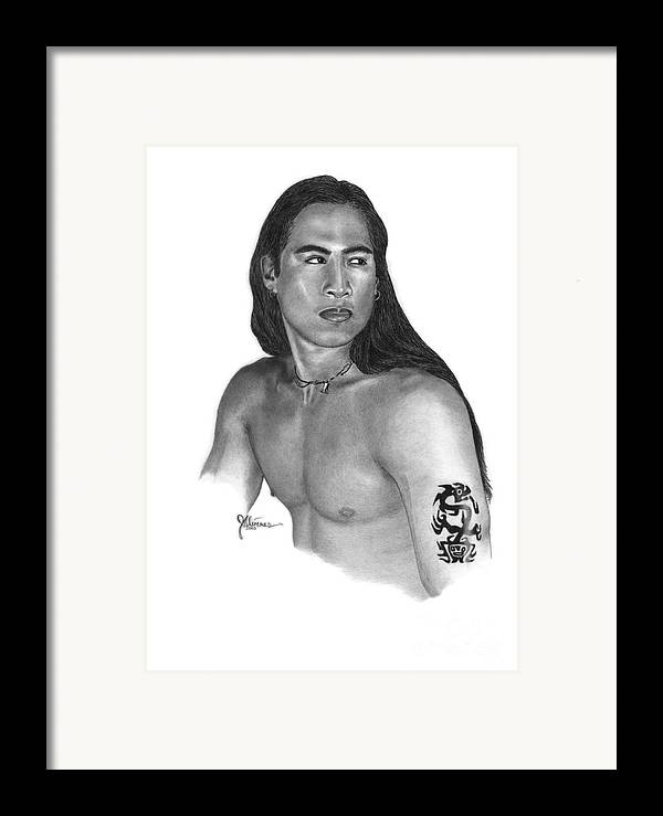 Pencil Drawing Print Framed Print featuring the drawing Warrior by Joe Olivares