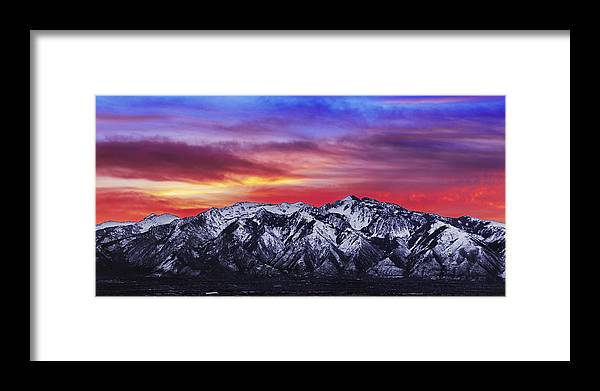Sky Framed Print featuring the photograph Wasatch Sunrise 2x1 by Chad Dutson