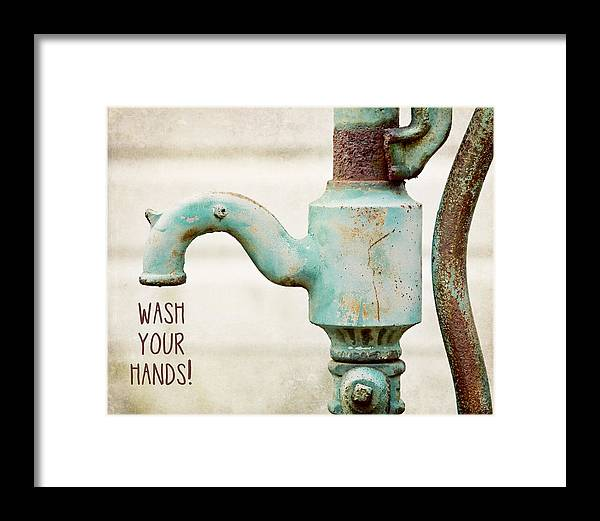 Typography Framed Print featuring the photograph Wash Your Hands Child's Bathroom Decor by Lisa Russo