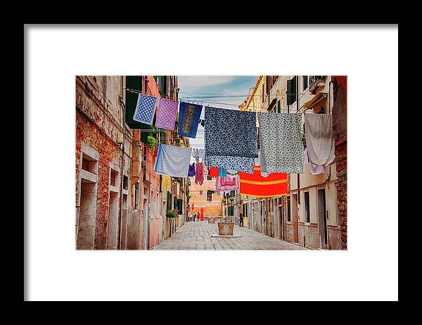 Hanging Framed Print featuring the photograph Washing Hanging Across Street, Venice by Svjetlana