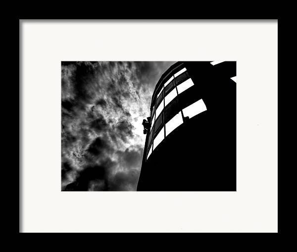 Window Framed Print featuring the photograph Washing Windows In The City by Bob Orsillo