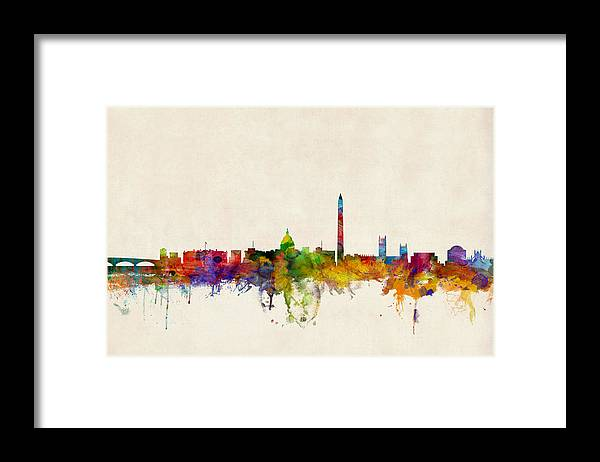 Watercolour Framed Print featuring the digital art Washington DC Skyline by Michael Tompsett