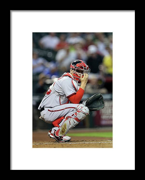 Baseball Catcher Framed Print featuring the photograph Washington Nationals V Arizona by Christian Petersen