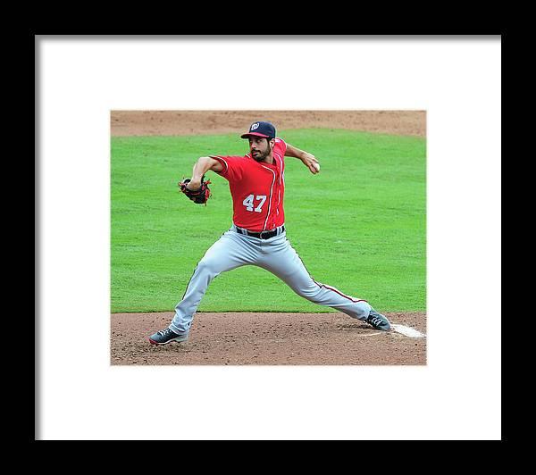Atlanta Framed Print featuring the photograph Washington Nationals V Atlanta Braves by Scott Cunningham