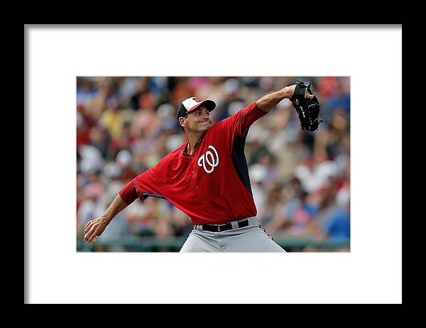 American League Baseball Framed Print featuring the photograph Washington Nationals V Atlanta Braves by Stacy Revere