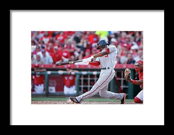 Great American Ball Park Framed Print featuring the photograph Washington Nationals V Cincinnati Reds by Joe Robbins
