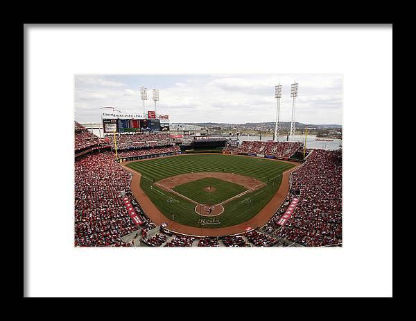 Great American Ball Park Framed Print featuring the photograph Washington Nationals V. Cincinnati Reds by John Grieshop