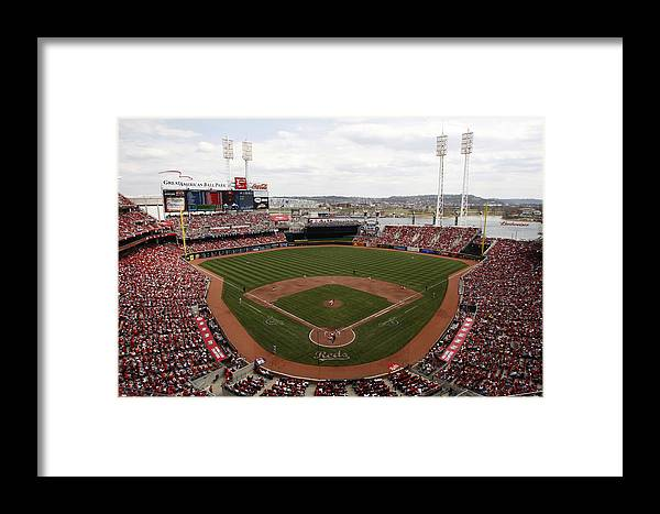 Great American Ball Park Framed Print featuring the photograph Washington Nationals V. Cincinnati Reds by John Grieshop