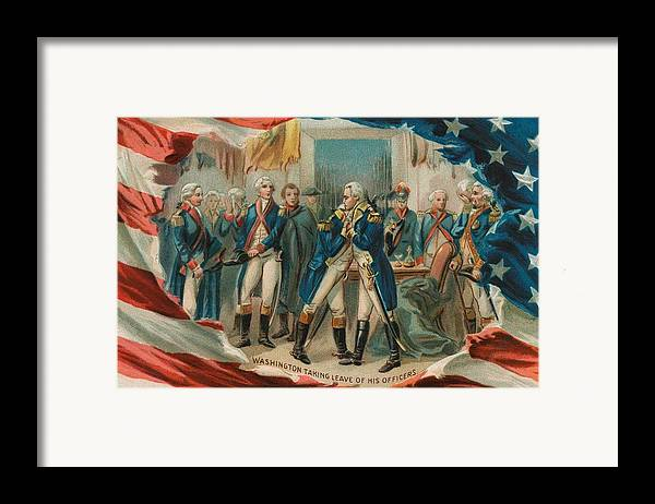 George Framed Print featuring the painting Washington Taking Leave Of His Officers by Anonymous