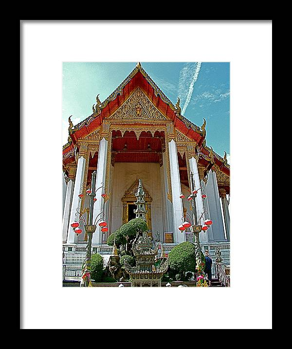 Wat Suthat In Bangkok Framed Print featuring the photograph Wat Suthat In Bangkok-thailand by Ruth Hager