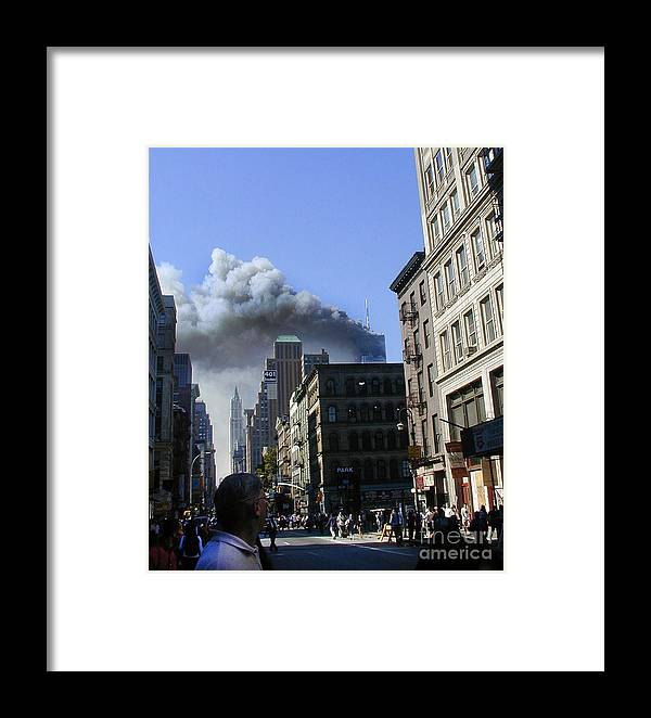 9/11/01 Framed Print featuring the digital art Watching North Tower Burning by Steven Spak