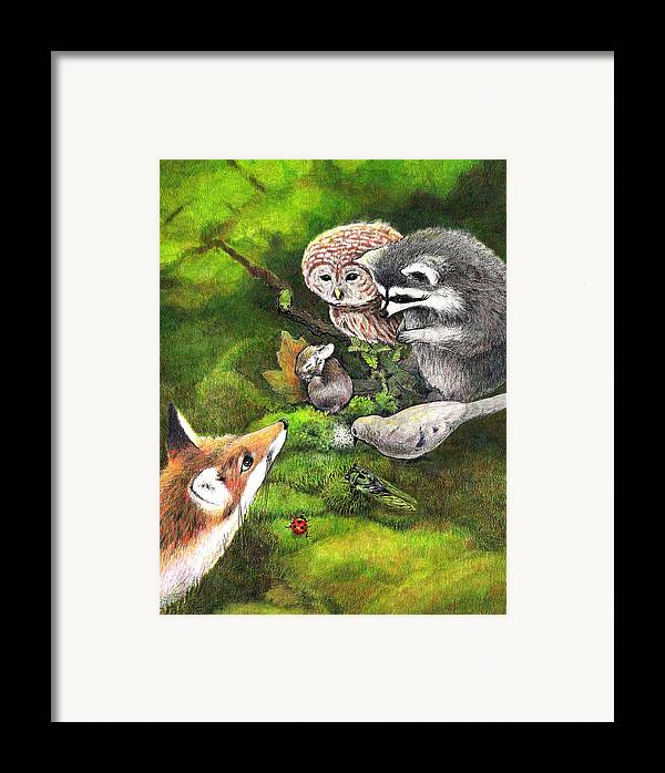 Bunny Framed Print featuring the drawing Watching Over Sleepy Bunny by Steve Asbell