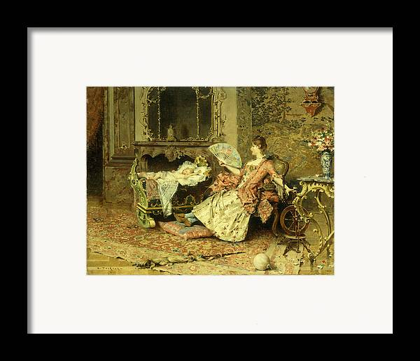 Watching; Baby; Mother; Child; Infant; Cot; Cradle; Maternal; Love; Fan; Seated; Grand; Interior; Grandiose; Rococo; Wealth; Relaxed; Relaxing; Ornate; Child; Children; 19th; Rest; Motherly Framed Print featuring the painting Watching The Baby by Edouard Toudouze