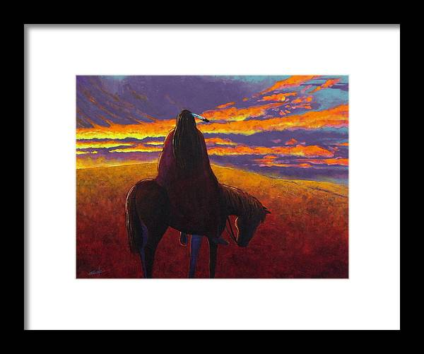 Native American Indian Framed Print featuring the painting Watching The Magic by Joe Triano