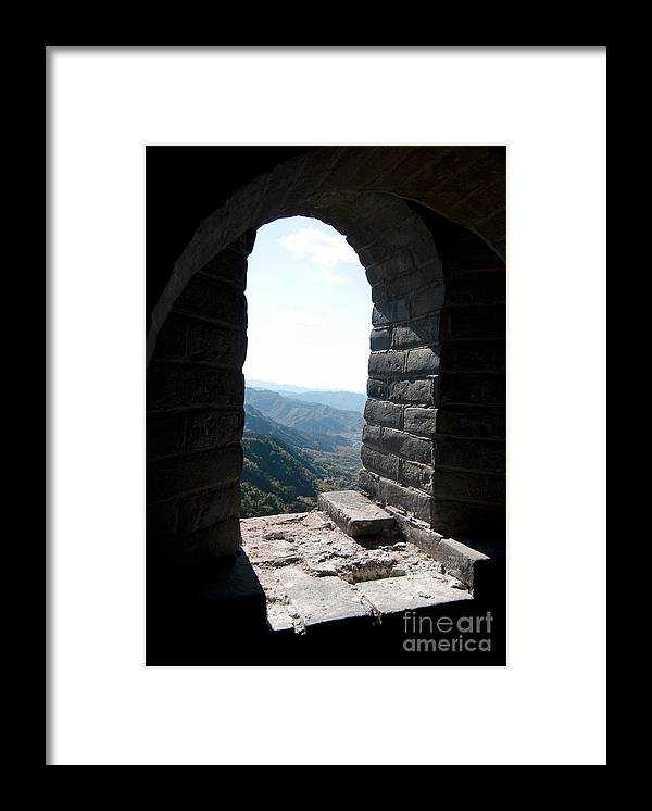 Window View From The Great Wall Framed Print featuring the photograph Watchtower Window View From The Great Wall 637 by Terri Winkler