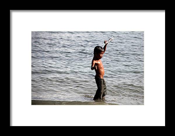 Jezcself Framed Print featuring the photograph Water And Me by Jez C Self