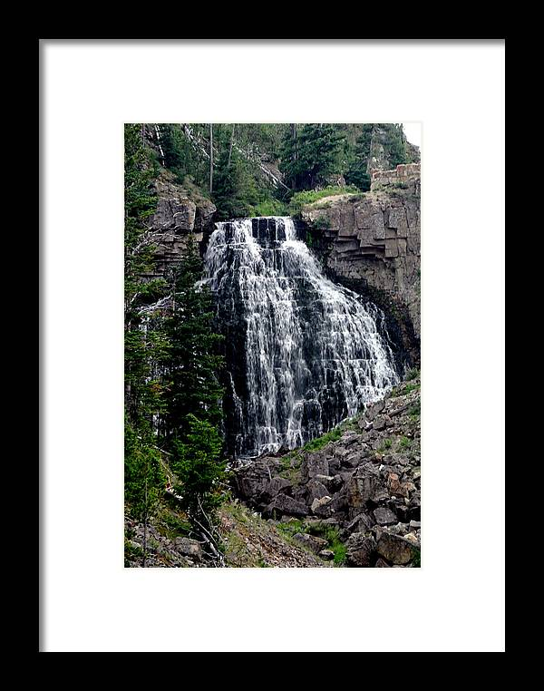 Water Fall Landscape Framed Print featuring the painting Water Fall by Larry Stolle