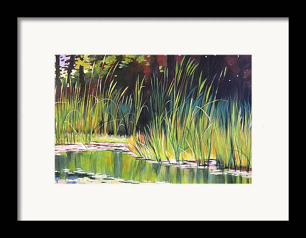Grass Framed Print featuring the painting Water Garden Landscape II by Melody Cleary